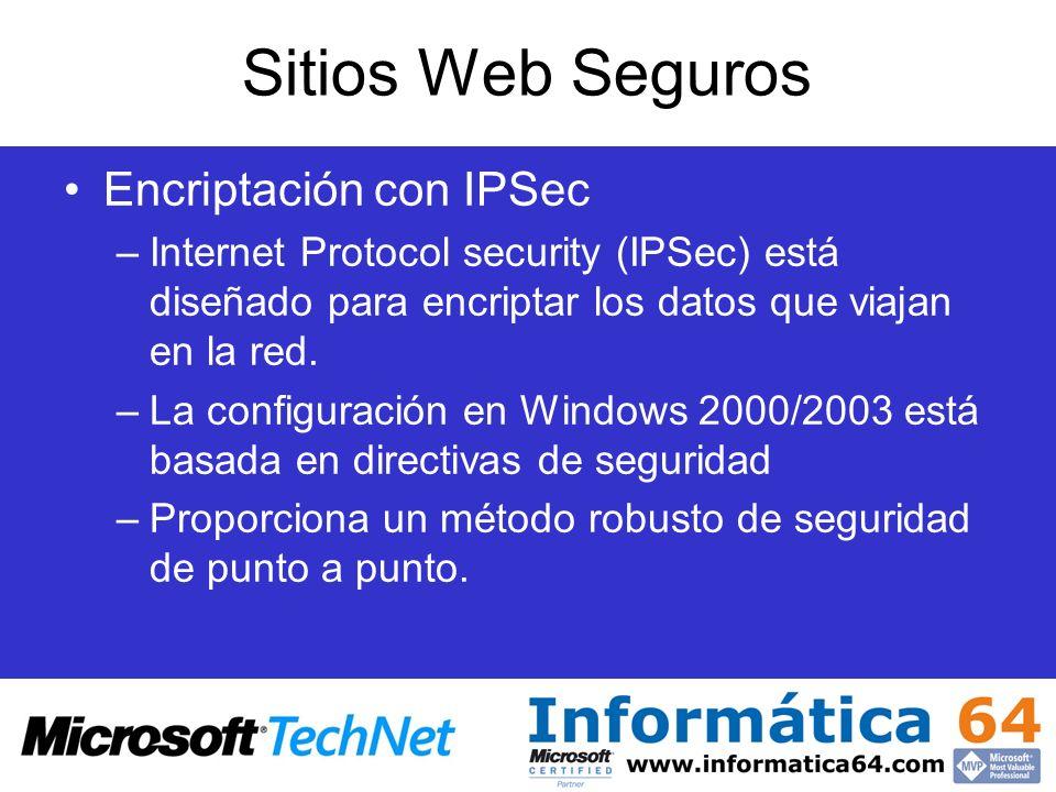 Sitios Web Seguros Encriptación con IPSec –Internet Protocol security (IPSec) está diseñado para encriptar los datos que viajan en la red. –La configu