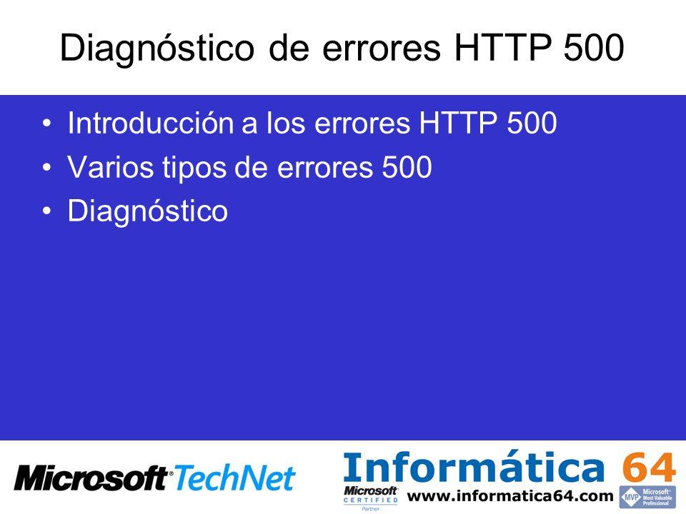 Diagnóstico de errores HTTP 500 Introducción a los errores HTTP 500 Varios tipos de errores 500 Diagnóstico