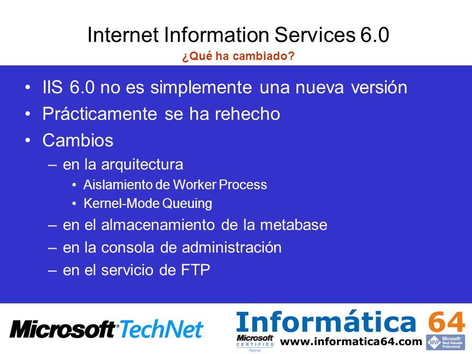 Reciclado de aplicaciones El modelo de procesos de IIS 5.0 INETINFO.exe metabase ftp, smtp, nntp W3SVC Winsock Filtros ISAPI In-proc Apps ASP.NET.Net App Domain ASPNET_WP.exe Pooled OOP Apps DLLHOST.exe Isolated OOP App DLLHOST.exe Isolated OOP App DLLHOST.exe Isolated OOP App DLLHOST.exe Modo usuario Modo kernel