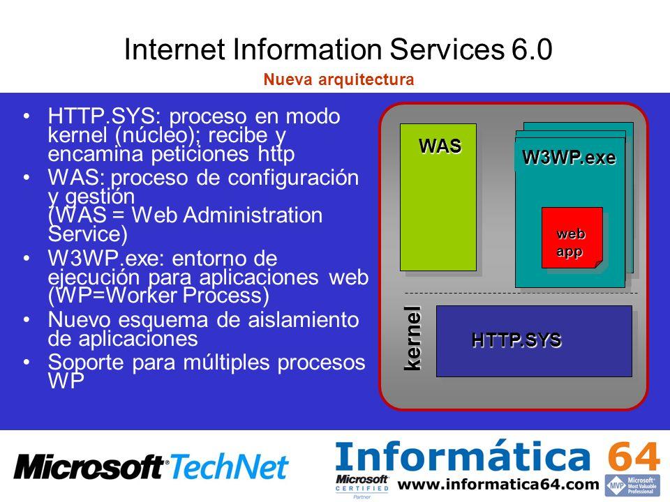 Internet Information Services 6.0 Proceso de peticiones en el kernel: HTTP.sys Cache Motor HTTP NamespaceMapper Cola Peticiones Envío Respuesta Petición Worker Process HTTP.sys HSE_REQ_ENABLE_CACHE Cola Peticiones Respuesta