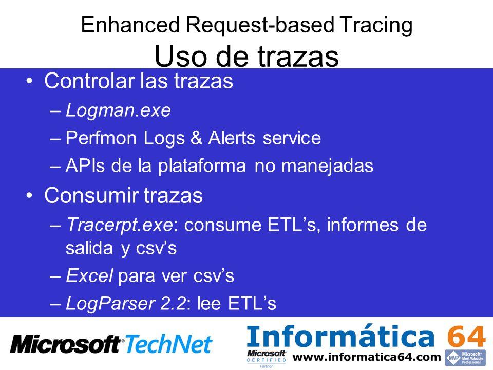 Enhanced Request-based Tracing Uso de trazas Controlar las trazas –Logman.exe –Perfmon Logs & Alerts service –APIs de la plataforma no manejadas Consu
