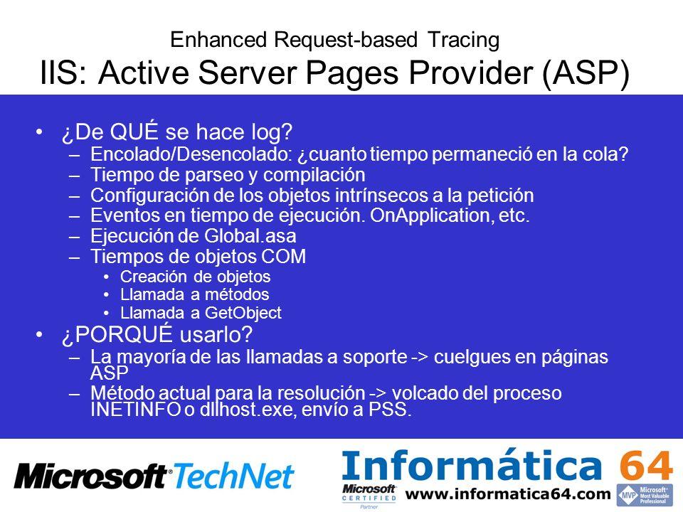Enhanced Request-based Tracing IIS: Active Server Pages Provider (ASP) ¿De QUÉ se hace log? –Encolado/Desencolado: ¿cuanto tiempo permaneció en la col