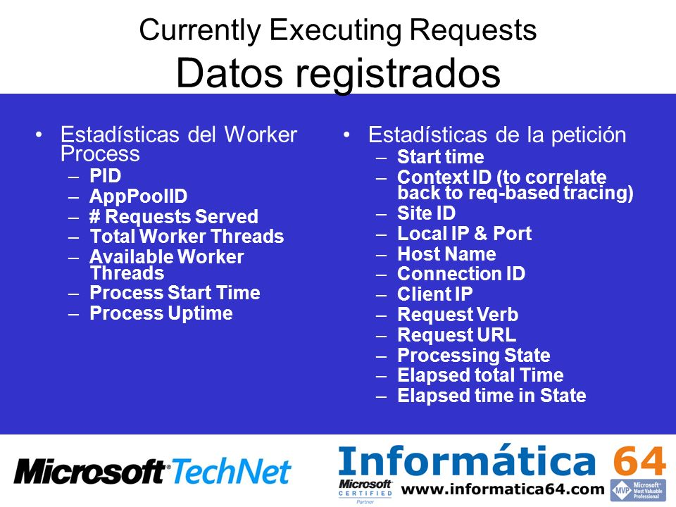 Currently Executing Requests Datos registrados Estadísticas del Worker Process –PID –AppPoolID –# Requests Served –Total Worker Threads –Available Wor