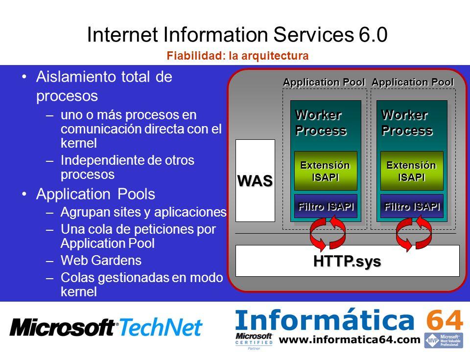 Internet Information Services 6.0 Application Pools Podemos tener uno o más –Cada uno servido por uno o más W3WP.exe –Cada W3WP.exe solo sirve un pool –Peticiones redirigidas al pool por HTTP.sys Podemos aislar las aplicaciones Web basándonos: –En sitio/cliente –En la funcionalidad –En la fiabilidad