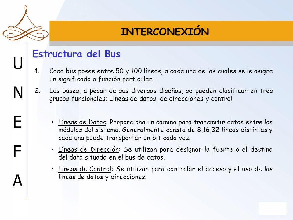UNEFAUNEFA Estructura del Bus 1.Cada bus posee entre 50 y 100 líneas, a cada una de las cuales se le asigna un significado o función particular. 2.Los