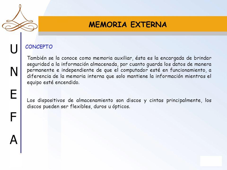 UNEFAUNEFA MEMORIA EXTERNA También se la conoce como memoria auxiliar, ésta es la encargada de brindar seguridad a la información almacenada, por cuan