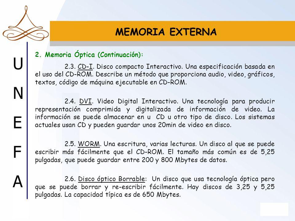 UNEFAUNEFA MEMORIA EXTERNA 2. Memoria Óptica (Continuación): 2.3. CD-I. Disco compacto Interactivo. Una especificación basada en el uso del CD-ROM. De