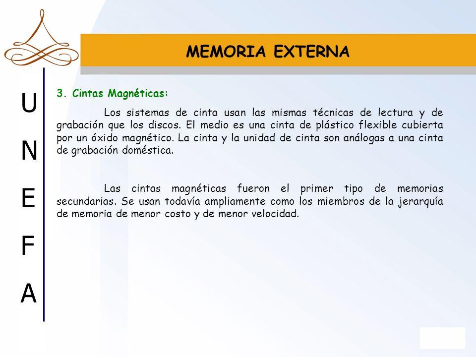 UNEFAUNEFA MEMORIA EXTERNA 3. Cintas Magnéticas: Los sistemas de cinta usan las mismas técnicas de lectura y de grabación que los discos. El medio es