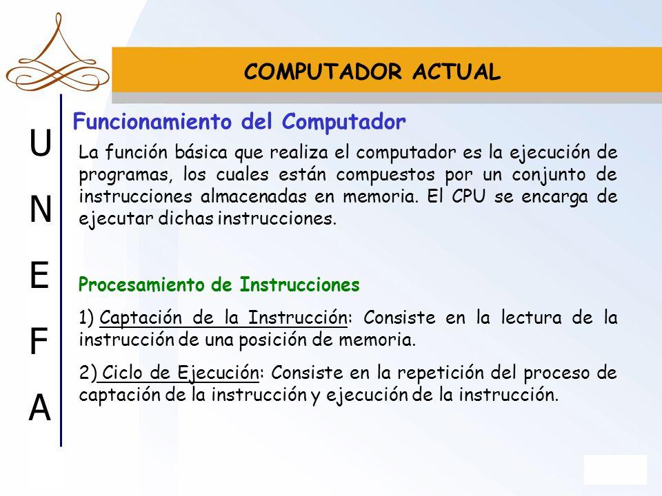 UNEFAUNEFA Funcionamiento del Computador La función básica que realiza el computador es la ejecución de programas, los cuales están compuestos por un