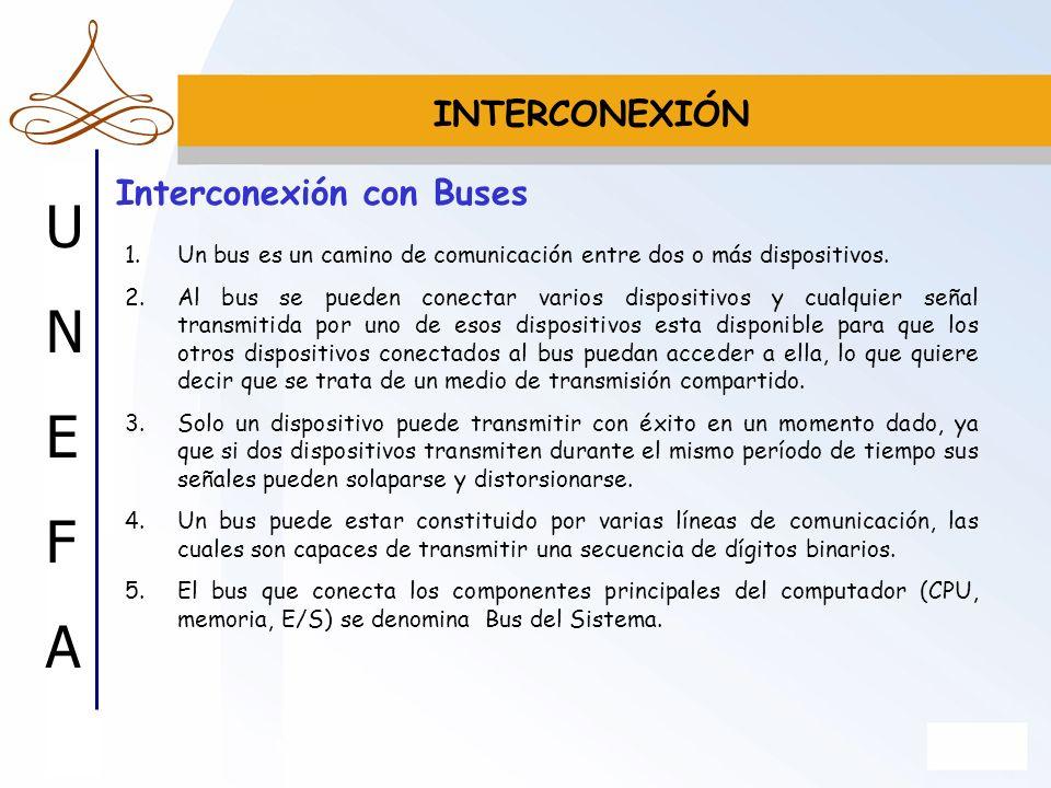 UNEFAUNEFA Interconexión con Buses 1.Un bus es un camino de comunicación entre dos o más dispositivos. 2.Al bus se pueden conectar varios dispositivos