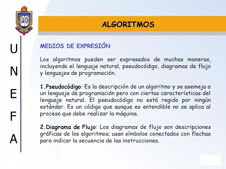 UNEFAUNEFA MEDIOS DE EXPRESIÓN Los algoritmos pueden ser expresados de muchas maneras, incluyendo el lenguaje natural, pseudocódigo, diagramas de fluj