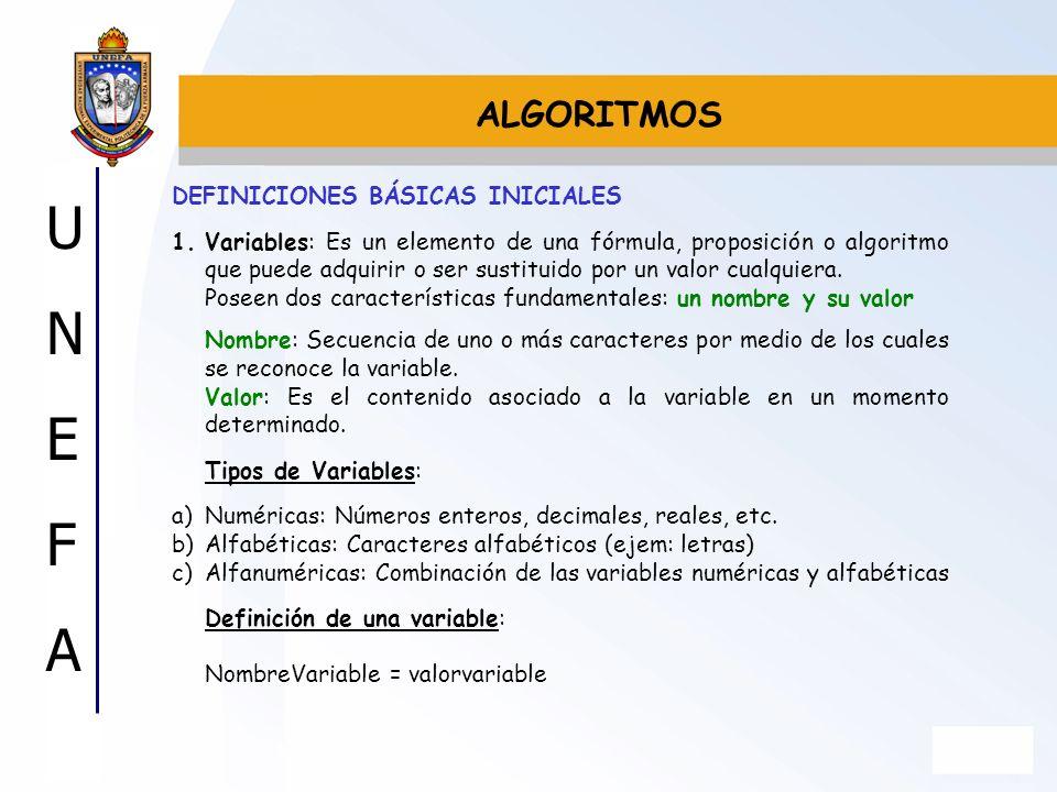 UNEFAUNEFA DEFINICIONES BÁSICAS INICIALES 1.Variables: Es un elemento de una fórmula, proposición o algoritmo que puede adquirir o ser sustituido por