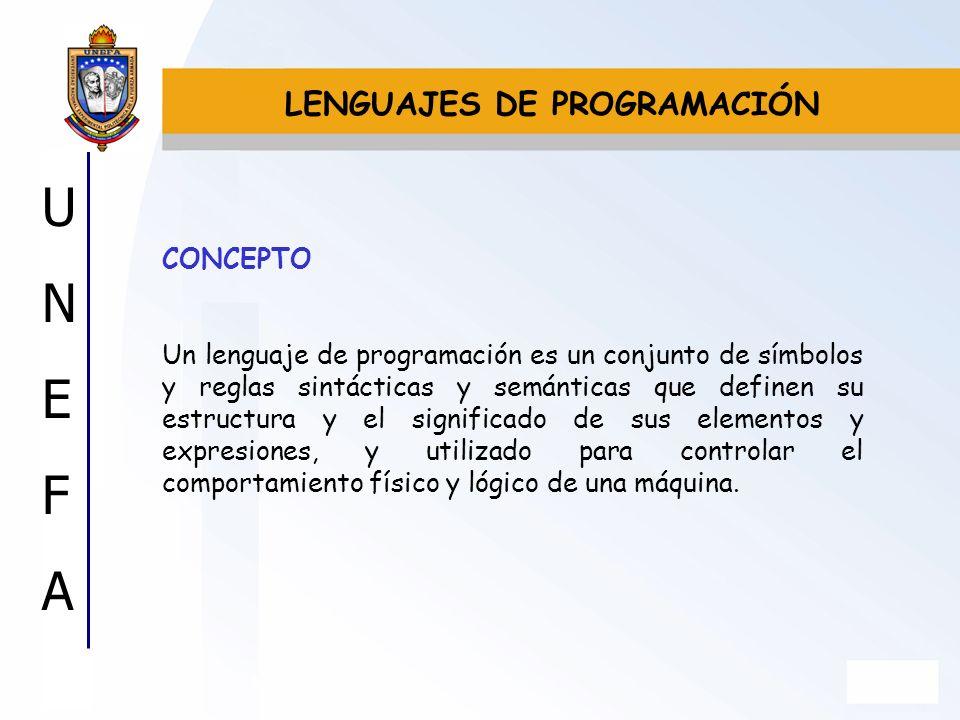 UNEFAUNEFA CONCEPTO Un lenguaje de programación es un conjunto de símbolos y reglas sintácticas y semánticas que definen su estructura y el significad