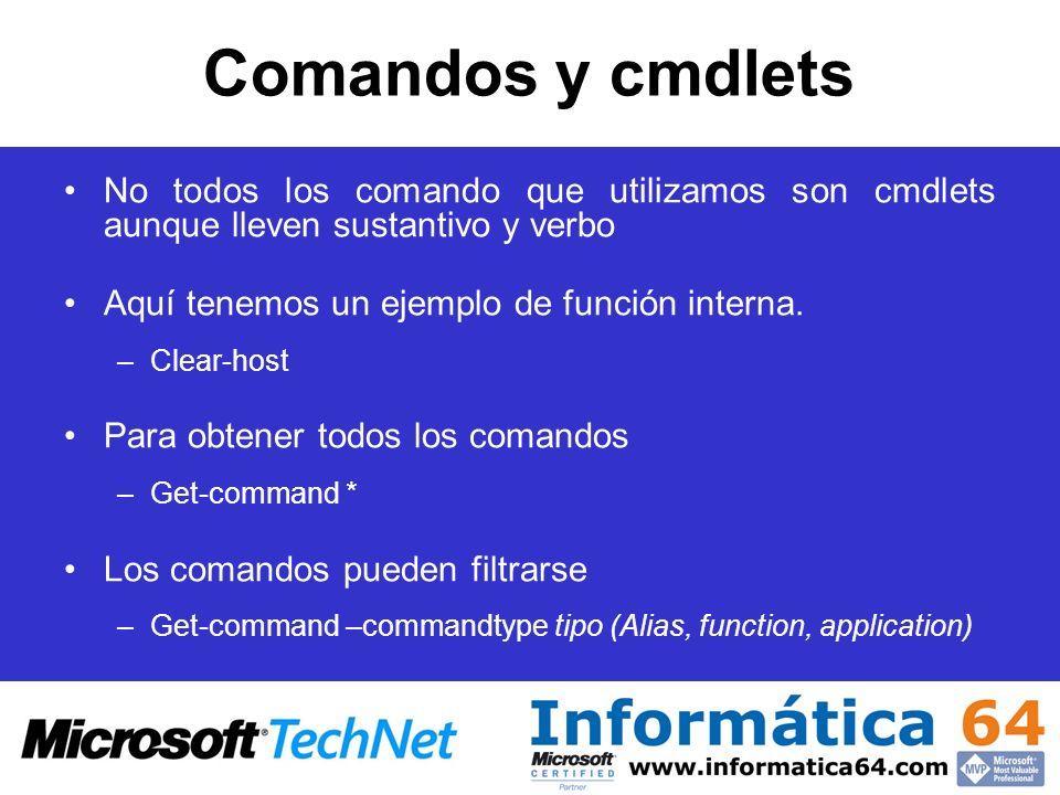 Comandos y cmdlets No todos los comando que utilizamos son cmdlets aunque lleven sustantivo y verbo Aquí tenemos un ejemplo de función interna. –Clear