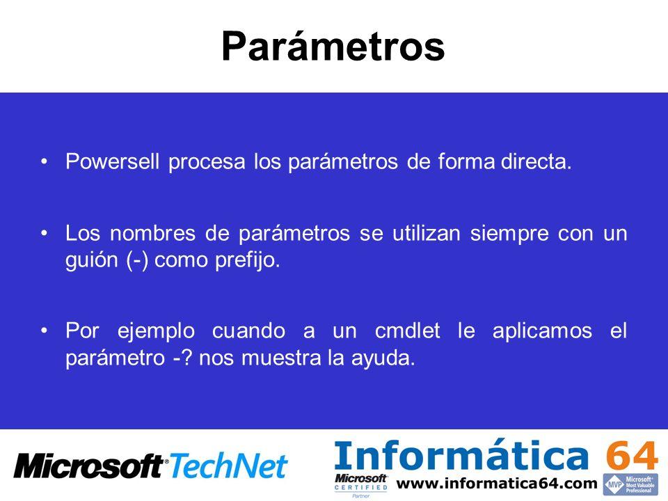 Parámetros Powersell procesa los parámetros de forma directa. Los nombres de parámetros se utilizan siempre con un guión (-) como prefijo. Por ejemplo