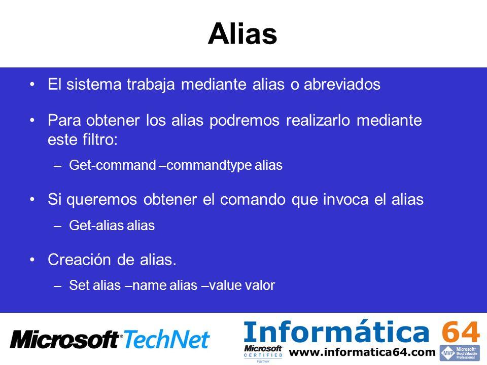 Alias El sistema trabaja mediante alias o abreviados Para obtener los alias podremos realizarlo mediante este filtro: –Get-command –commandtype alias
