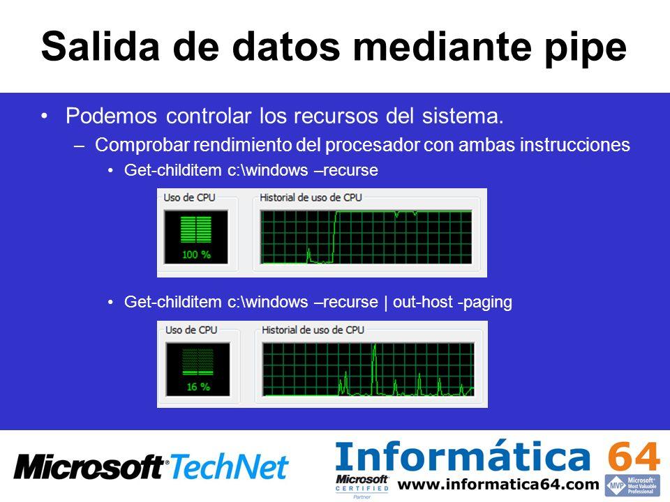 Salida de datos mediante pipe Podemos controlar los recursos del sistema. –Comprobar rendimiento del procesador con ambas instrucciones Get-childitem