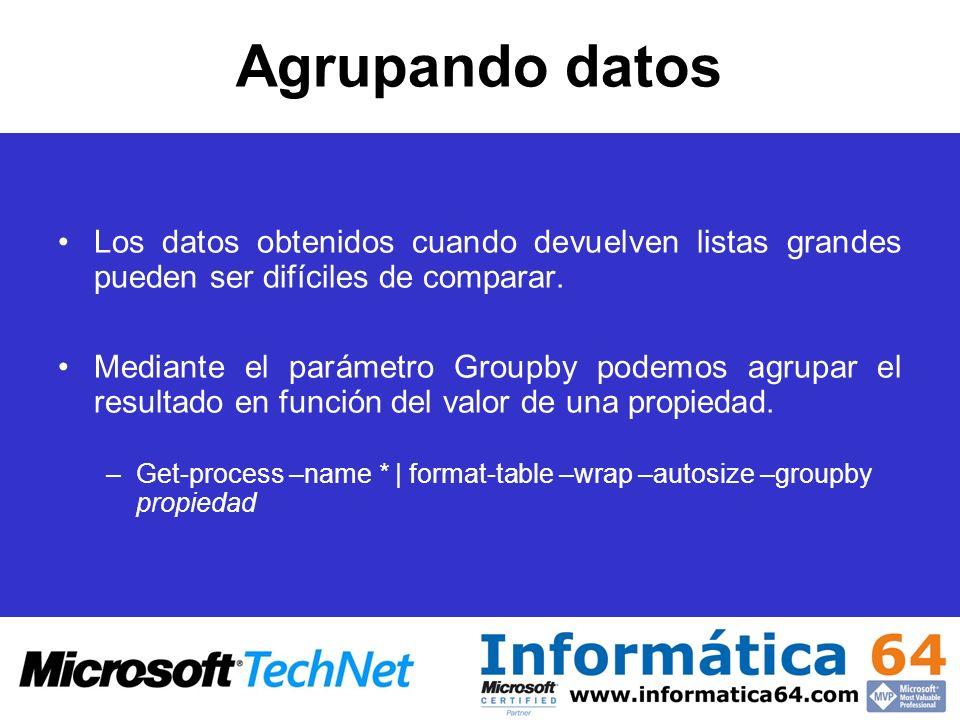 Agrupando datos Los datos obtenidos cuando devuelven listas grandes pueden ser difíciles de comparar. Mediante el parámetro Groupby podemos agrupar el