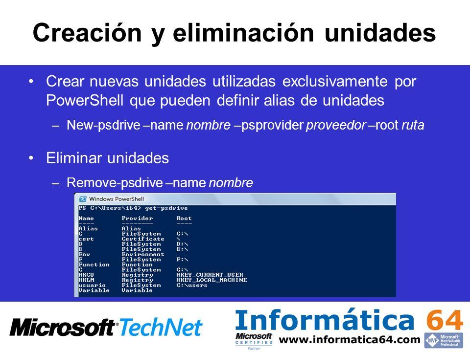 Creación y eliminación unidades Crear nuevas unidades utilizadas exclusivamente por PowerShell que pueden definir alias de unidades –New-psdrive –name