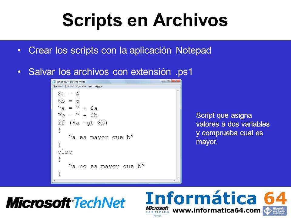 Scripts en Archivos Crear los scripts con la aplicación Notepad Salvar los archivos con extensión.ps1 $a = 4 $b = 6 a = + $a b = + $b if ($a –gt $b) {