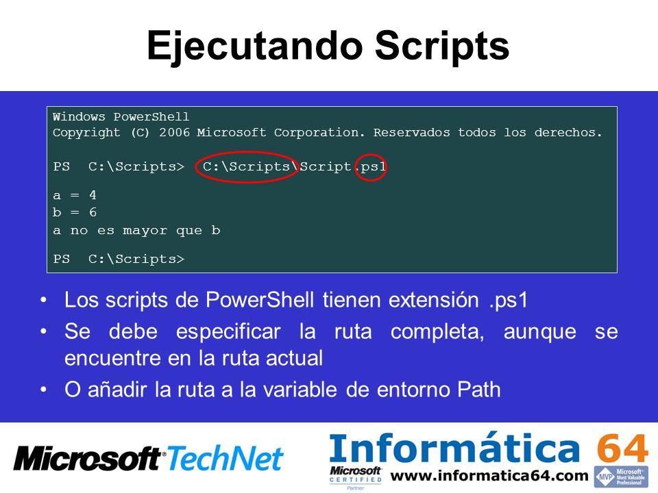 Ejecutando Scripts Los scripts de PowerShell tienen extensión.ps1 Se debe especificar la ruta completa, aunque se encuentre en la ruta actual O añadir