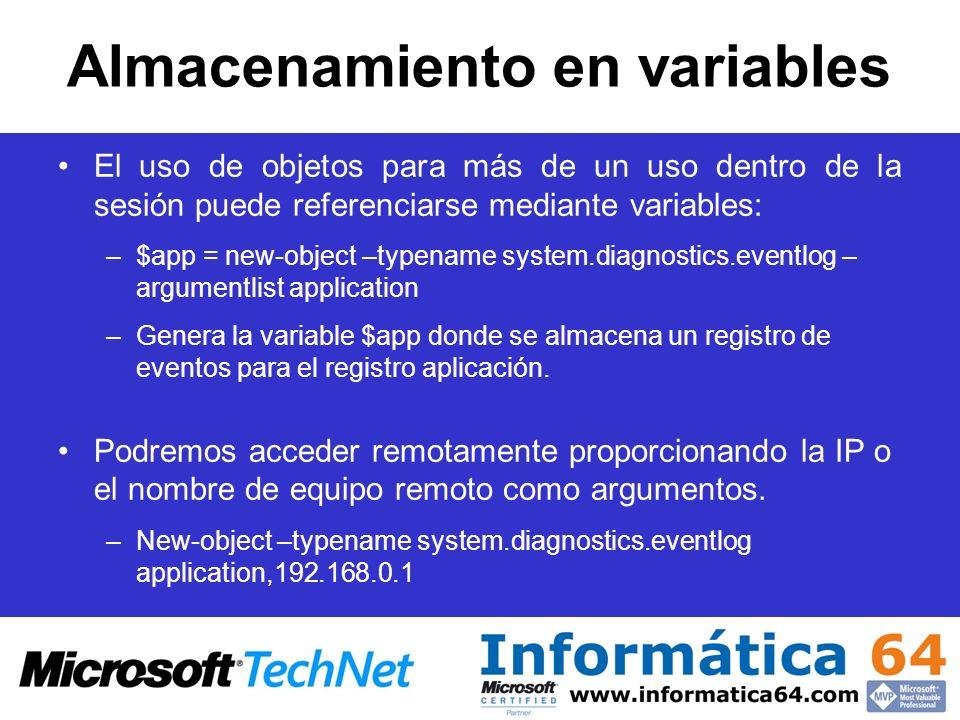 Almacenamiento en variables El uso de objetos para más de un uso dentro de la sesión puede referenciarse mediante variables: –$app = new-object –typen