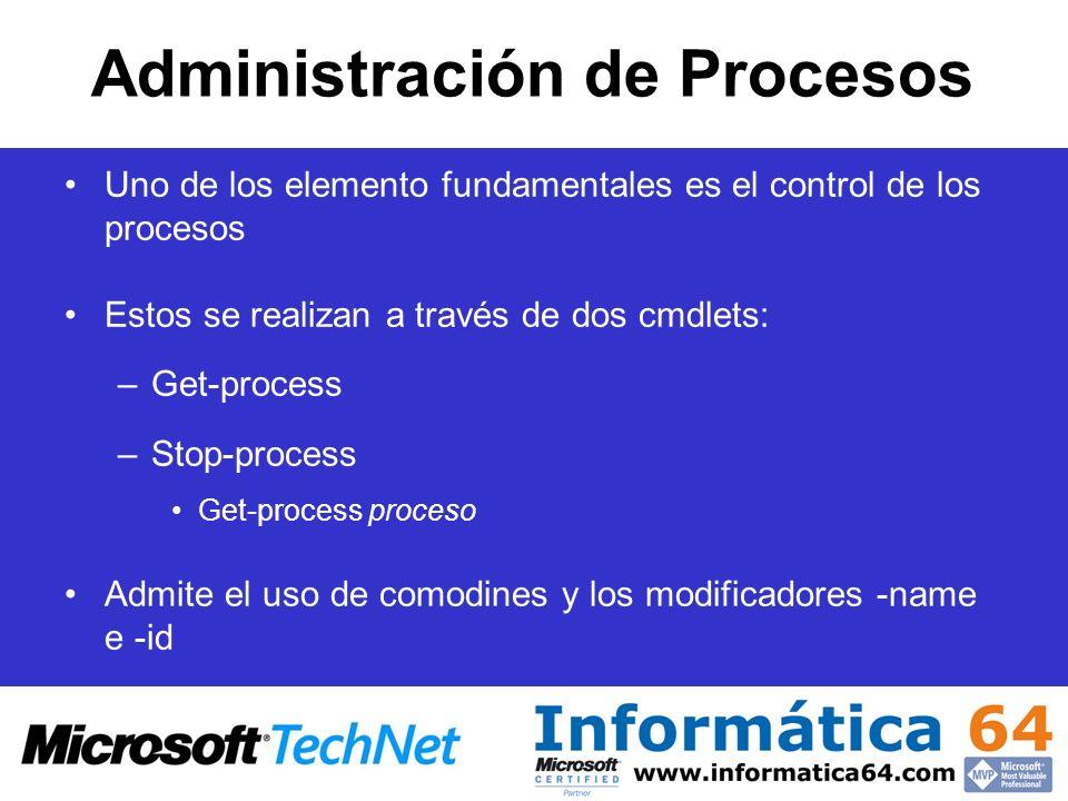 Administración de Procesos Uno de los elemento fundamentales es el control de los procesos Estos se realizan a través de dos cmdlets: –Get-process –St