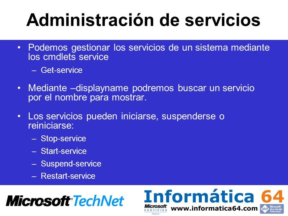 Administración de servicios Podemos gestionar los servicios de un sistema mediante los cmdlets service –Get-service Mediante –displayname podremos bus