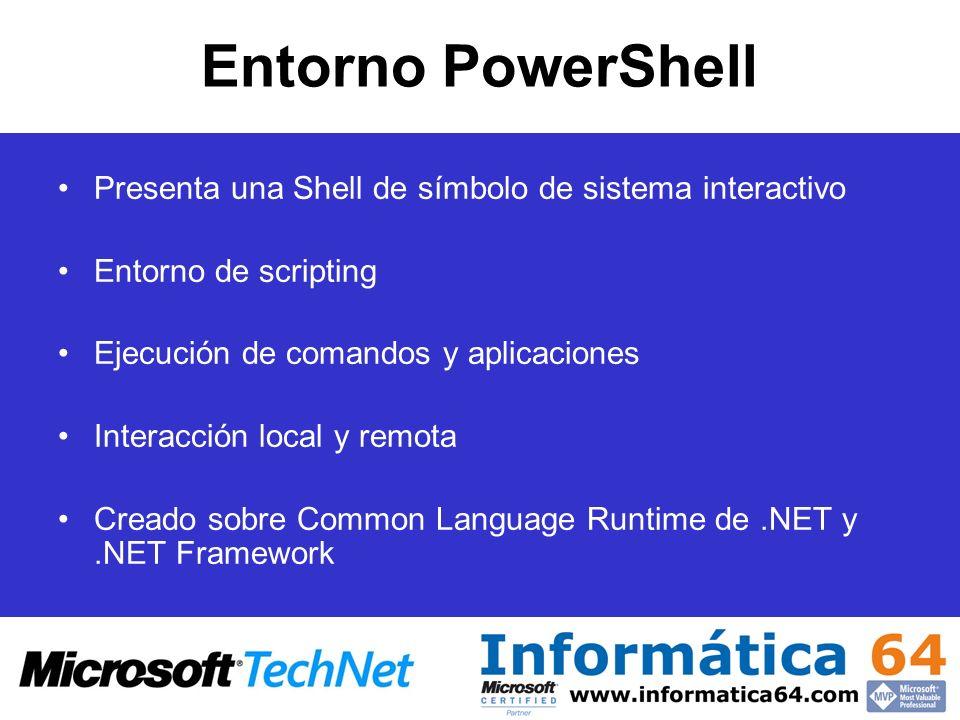 Entorno PowerShell Presenta una Shell de símbolo de sistema interactivo Entorno de scripting Ejecución de comandos y aplicaciones Interacción local y