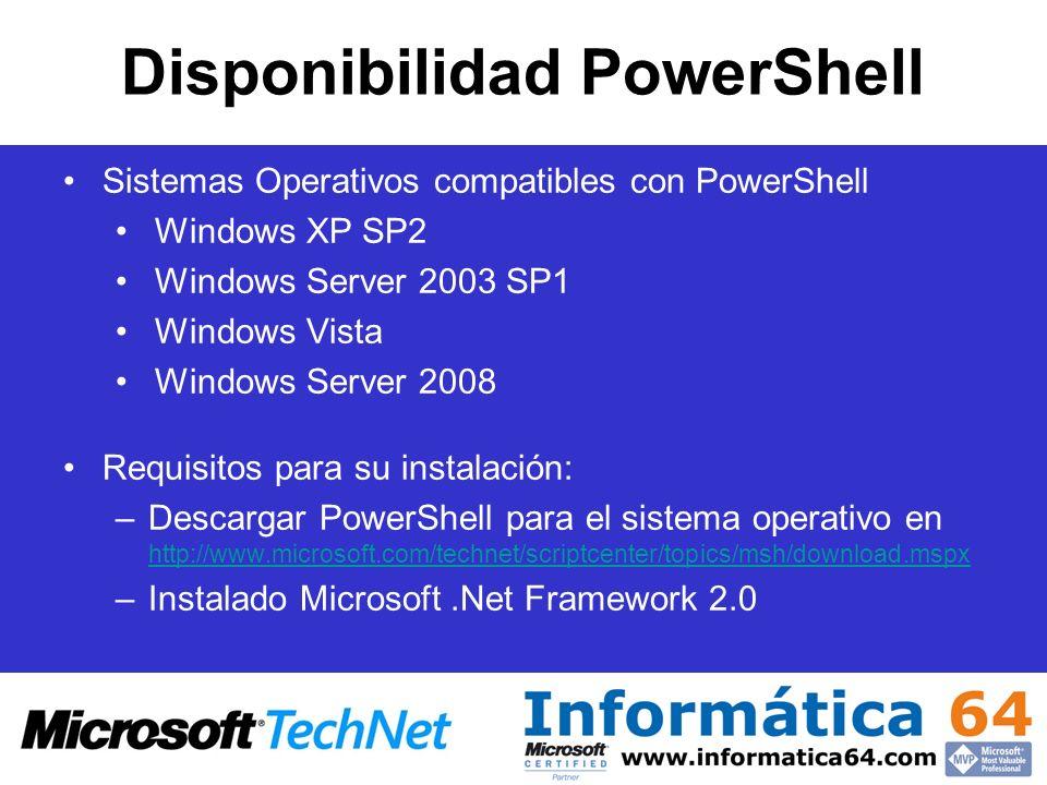 Disponibilidad PowerShell Sistemas Operativos compatibles con PowerShell Windows XP SP2 Windows Server 2003 SP1 Windows Vista Windows Server 2008 Requ
