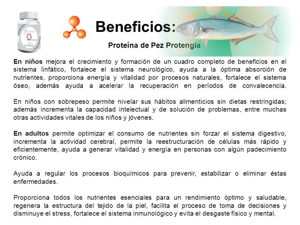 Beneficios: Proteína de Pez Protengia En niños mejora el crecimiento y formación de un cuadro completo de beneficios en el sistema linfático, fortalec
