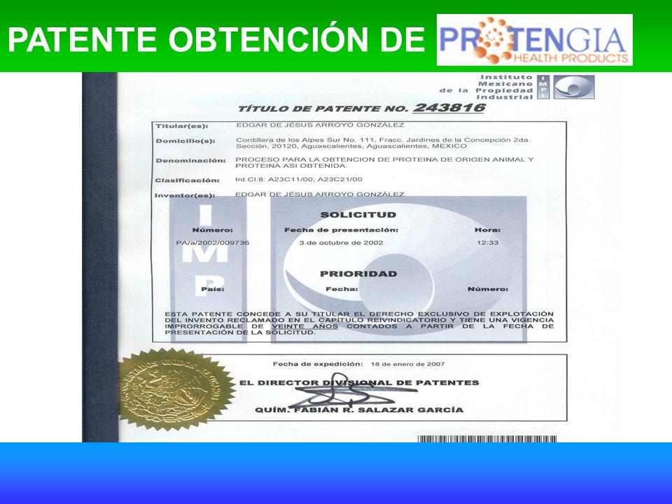 PATENTE OBTENCIÓN DE