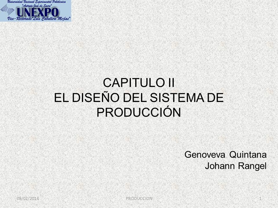 CAPITULO II EL DISEÑO DEL SISTEMA DE PRODUCCIÓN 08/02/20141PRODUCCION Genoveva Quintana Johann Rangel