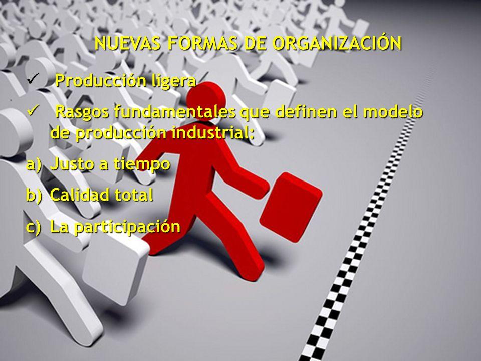 NUEVAS FORMAS DE ORGANIZACIÓN Producción ligera Rasgos fundamentales que definen el modelo de producción industrial: Rasgos fundamentales que definen