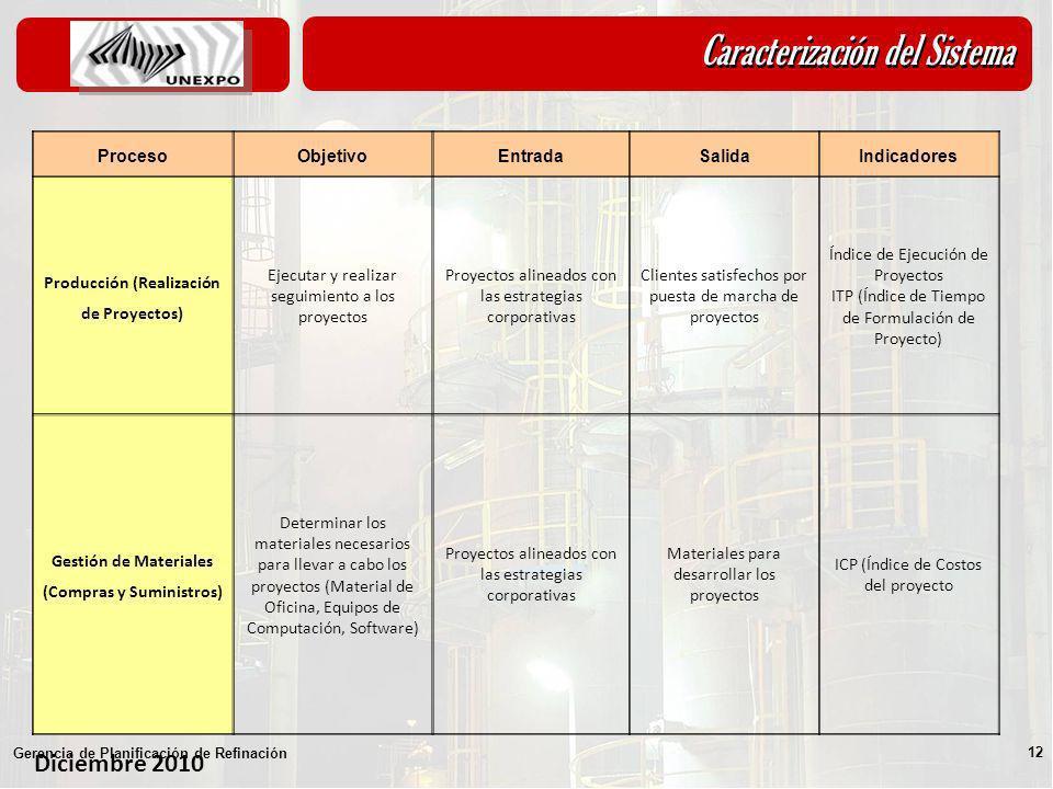 Diciembre 2010 Gerencia de Planificación de Refinación 12 ProcesoObjetivoEntradaSalidaIndicadores Producción (Realización de Proyectos) Ejecutar y rea