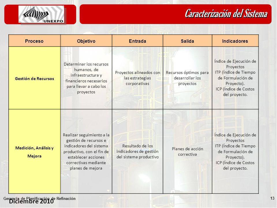 Diciembre 2010 Gerencia de Planificación de Refinación 13 ProcesoObjetivoEntradaSalidaIndicadores Gestión de Recursos Determinar los recursos humanos,