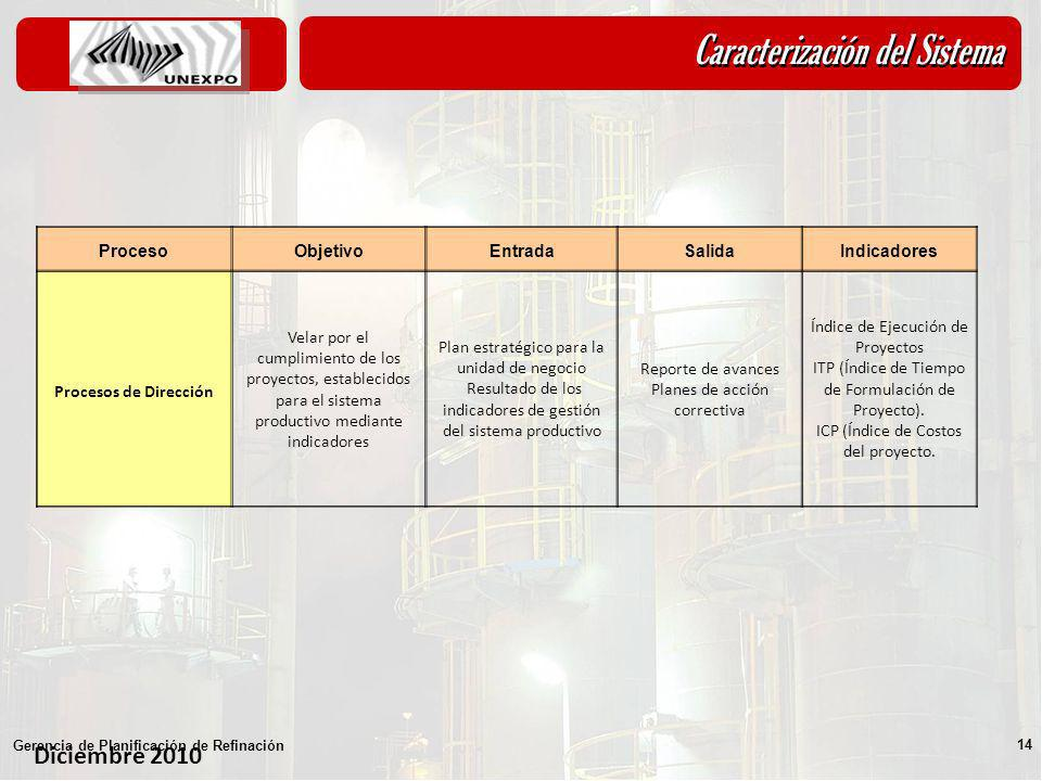 Diciembre 2010 Gerencia de Planificación de Refinación 14 ProcesoObjetivoEntradaSalidaIndicadores Procesos de Dirección Velar por el cumplimiento de l
