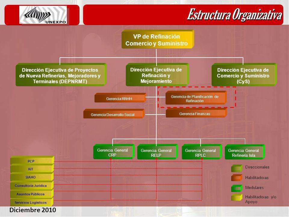 Diciembre 2010 Estructura Organizativa Dirección Ejecutiva de Proyectos de Nueva Refinerías, Mejoradores y Terminales (DEPNRMT) VP de Refinación Comer