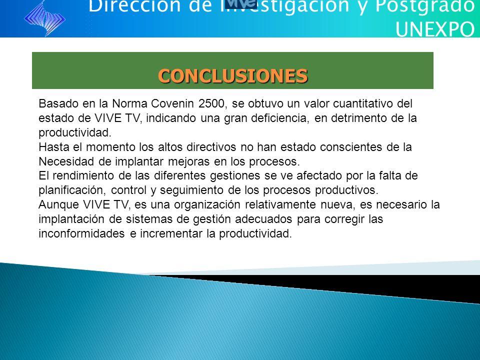 Dirección de Investigación y Postgrado UNEXPO CONCLUSIONES Basado en la Norma Covenin 2500, se obtuvo un valor cuantitativo del estado de VIVE TV, ind