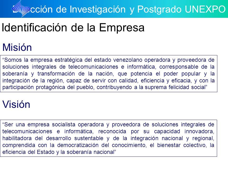 Dirección de Investigación y Postgrado UNEXPO Identificación de la Empresa Misión Somos la empresa estratégica del estado venezolano operadora y prove