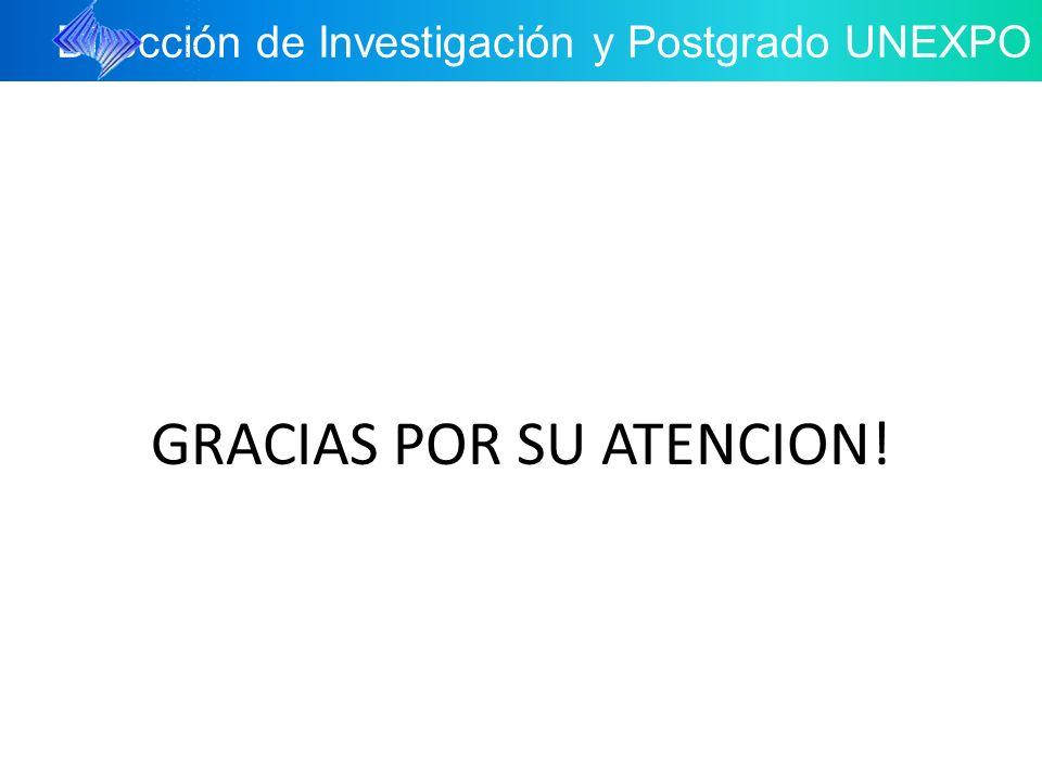 Dirección de Investigación y Postgrado UNEXPO GRACIAS POR SU ATENCION!