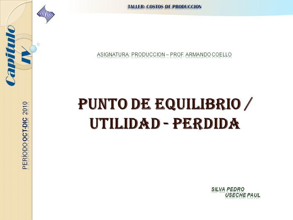 PUNTO DE EQUILIBRIO / UTILIDAD - PERDIDA Capitulo IV TALLER: COSTOS DE PRODUCCION
