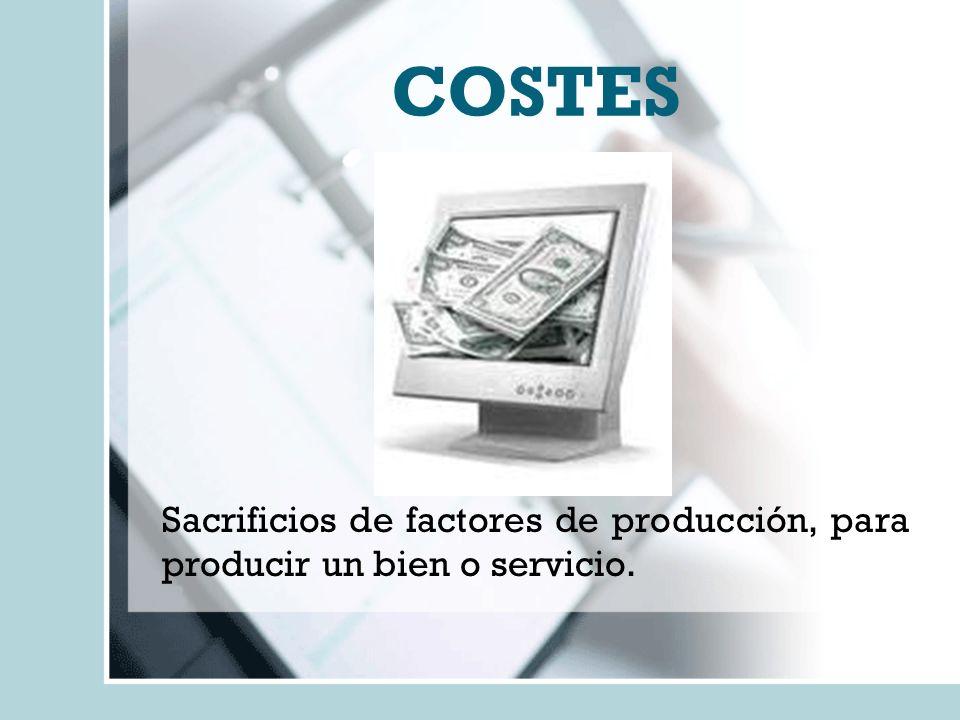 COSTES Sacrificios de factores de producción, para producir un bien o servicio.