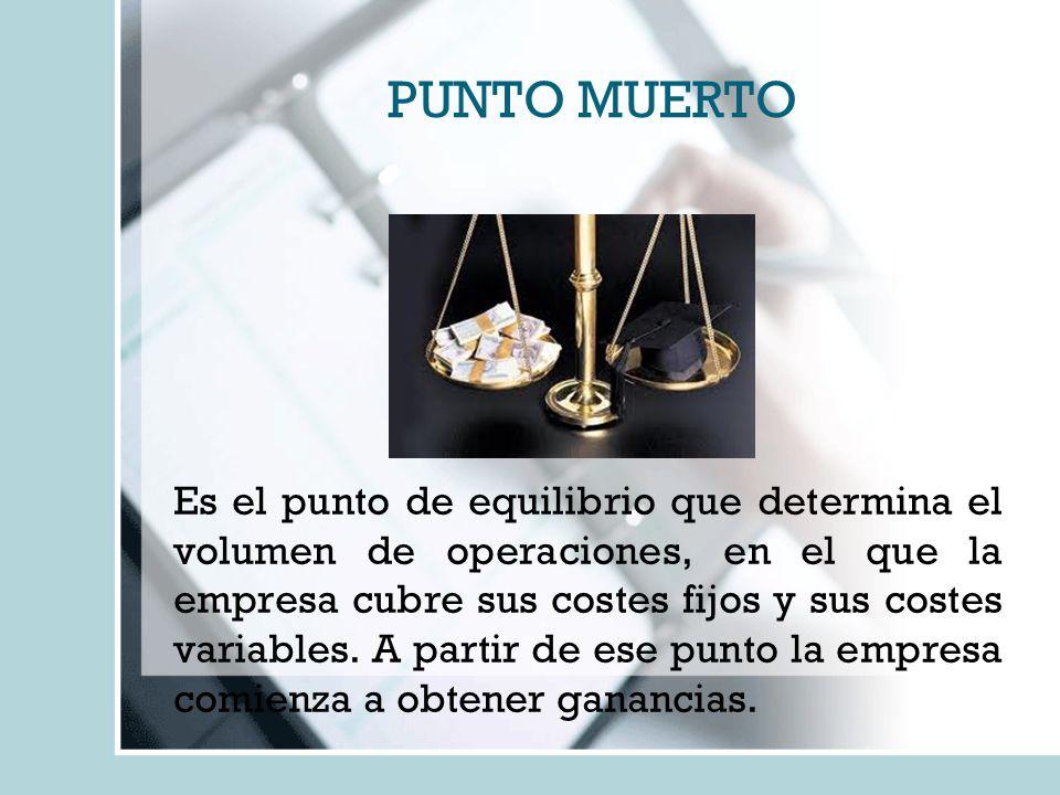 PUNTO MUERTO Es el punto de equilibrio que determina el volumen de operaciones, en el que la empresa cubre sus costes fijos y sus costes variables. A