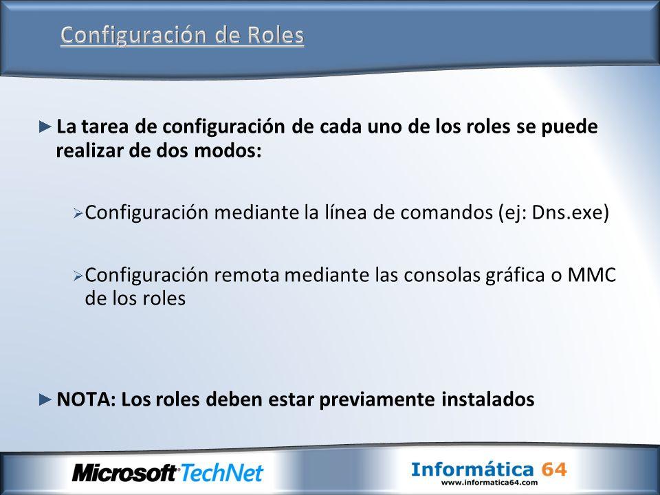 La tarea de configuración de cada uno de los roles se puede realizar de dos modos: Configuración mediante la línea de comandos (ej: Dns.exe) Configura