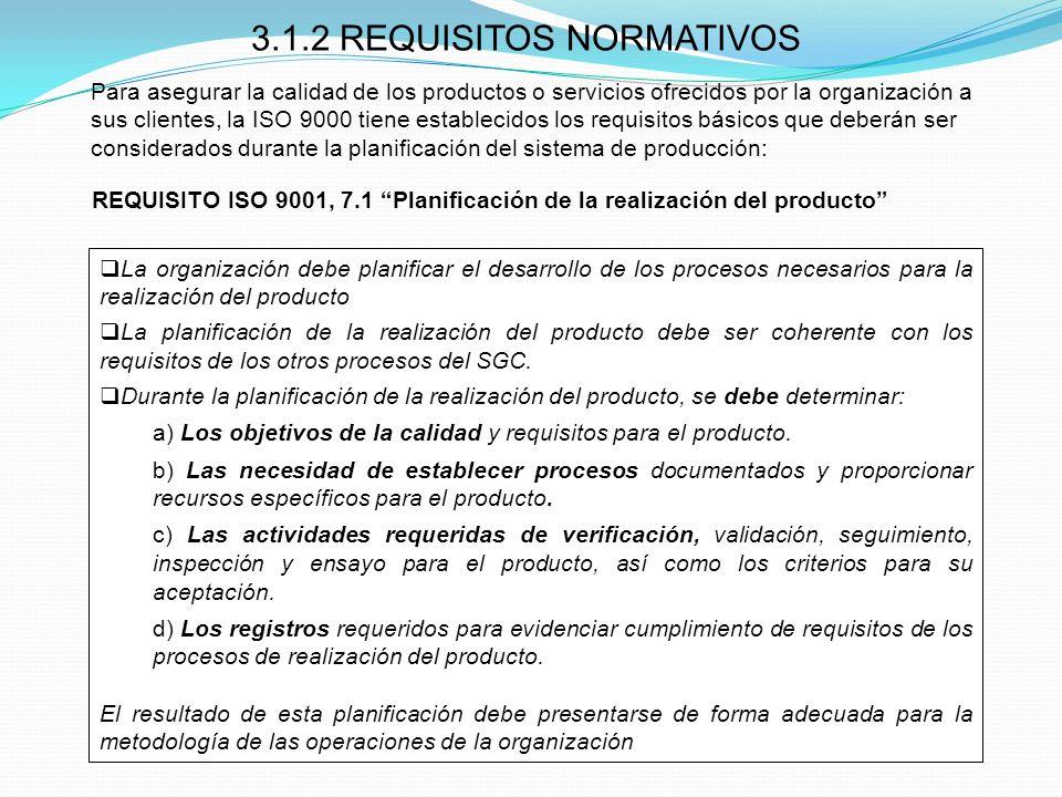 3.1.2 REQUISITOS NORMATIVOS La organización debe planificar el desarrollo de los procesos necesarios para la realización del producto La planificación