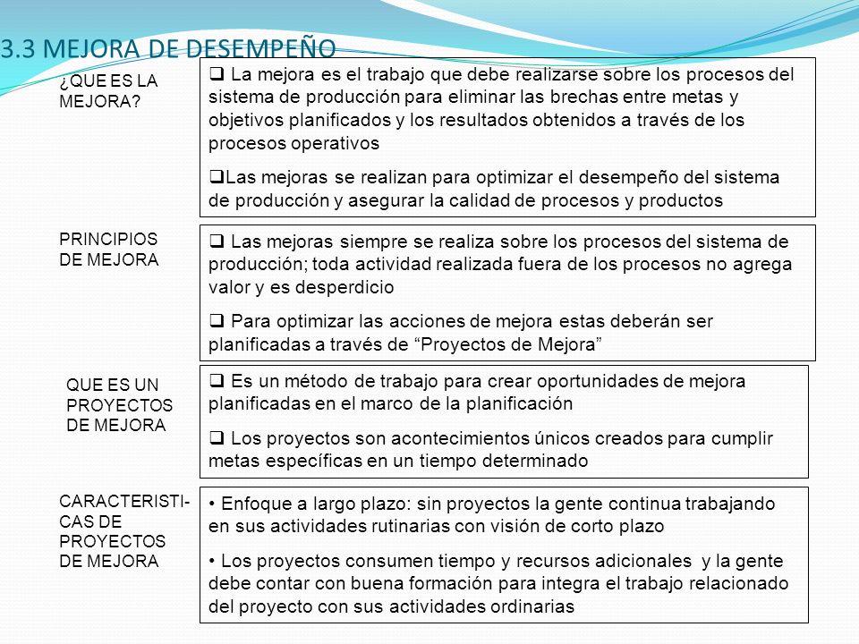 3.3 MEJORA DE DESEMPEÑO CARACTERISTI- CAS DE PROYECTOS DE MEJORA Enfoque a largo plazo: sin proyectos la gente continua trabajando en sus actividades