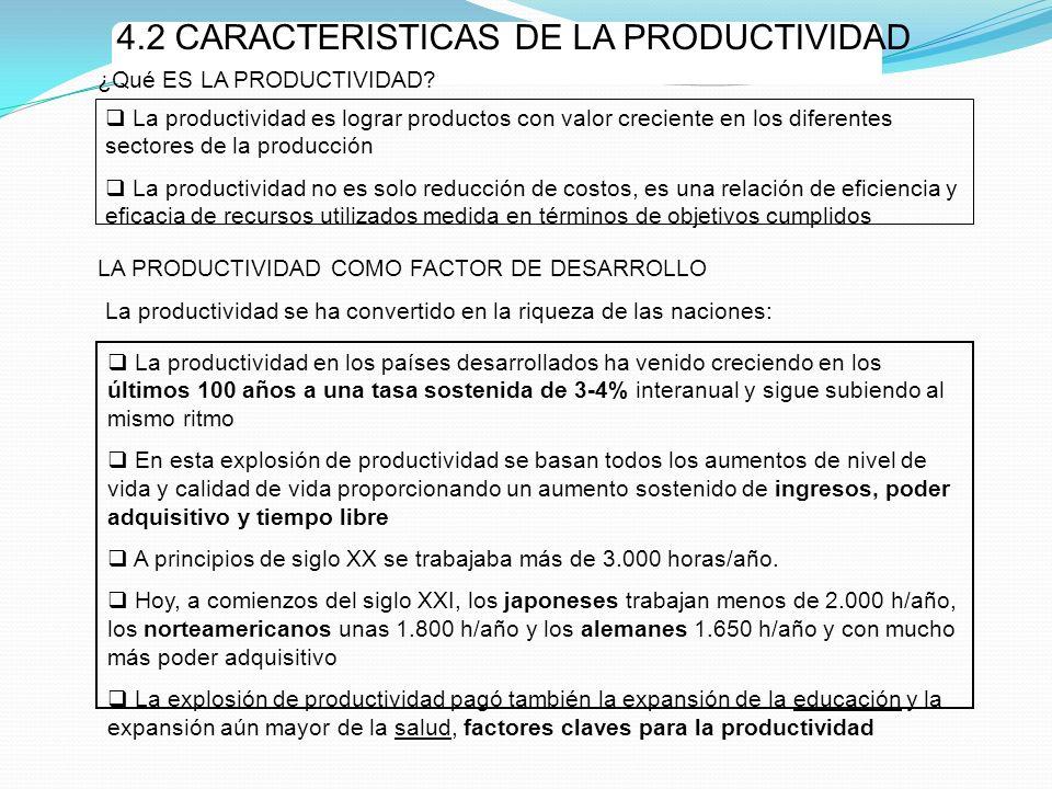 4.2 CARACTERISTICAS DE LA PRODUCTIVIDAD La productividad en los países desarrollados ha venido creciendo en los últimos 100 años a una tasa sostenida