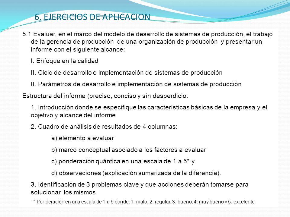 6. EJERCICIOS DE APLICACION 5.1 Evaluar, en el marco del modelo de desarrollo de sistemas de producción, el trabajo de la gerencia de producción de un