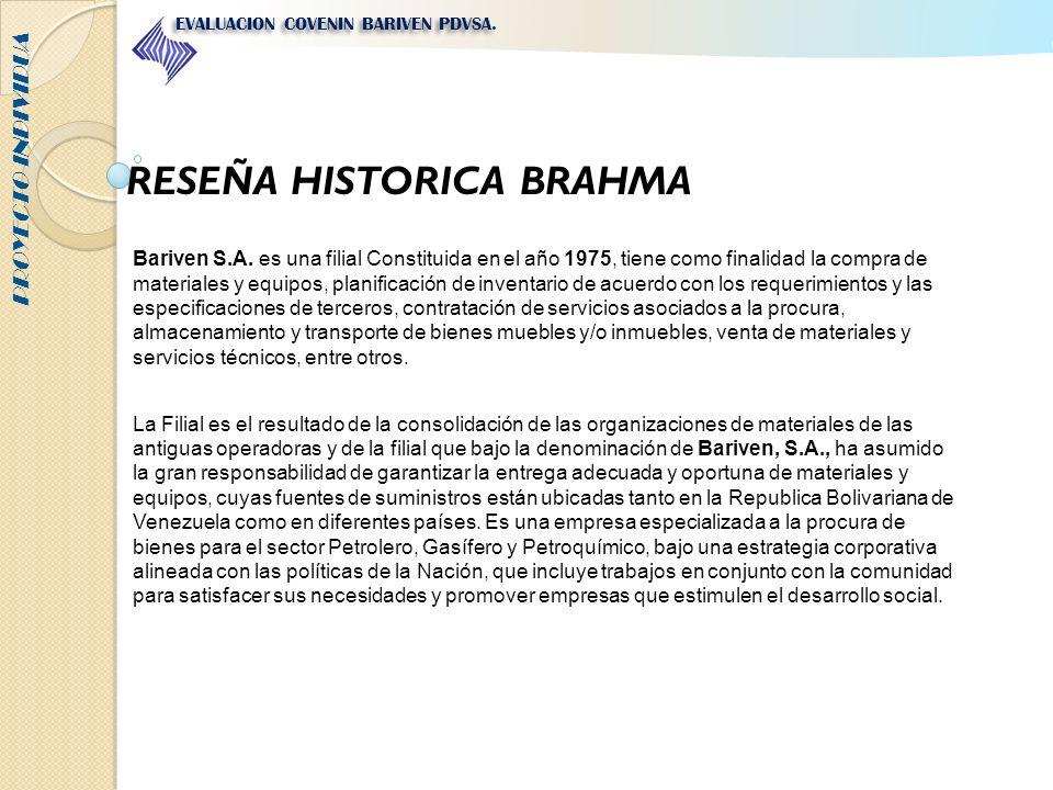 RESEÑA HISTORICA BRAHMA Bariven S.A. es una filial Constituida en el año 1975, tiene como finalidad la compra de materiales y equipos, planificación d